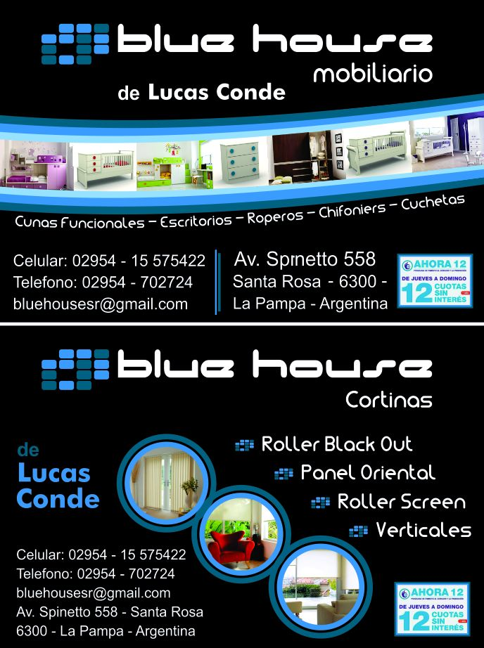 Logotipo Blue House Cortinas